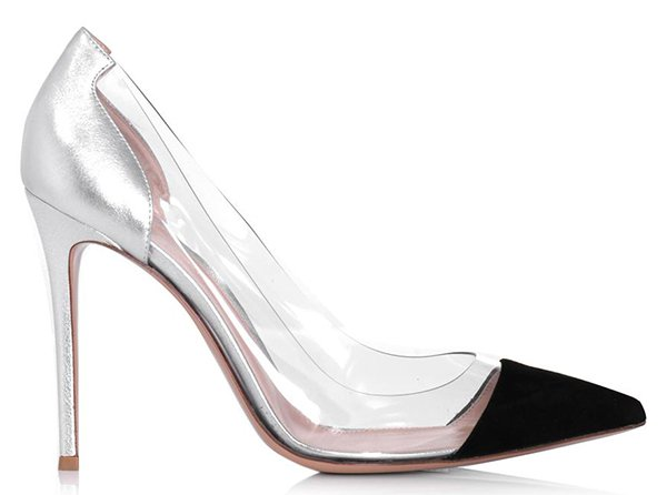 Gianvito Rossi Suede, Silver Leather and PVC Pumps