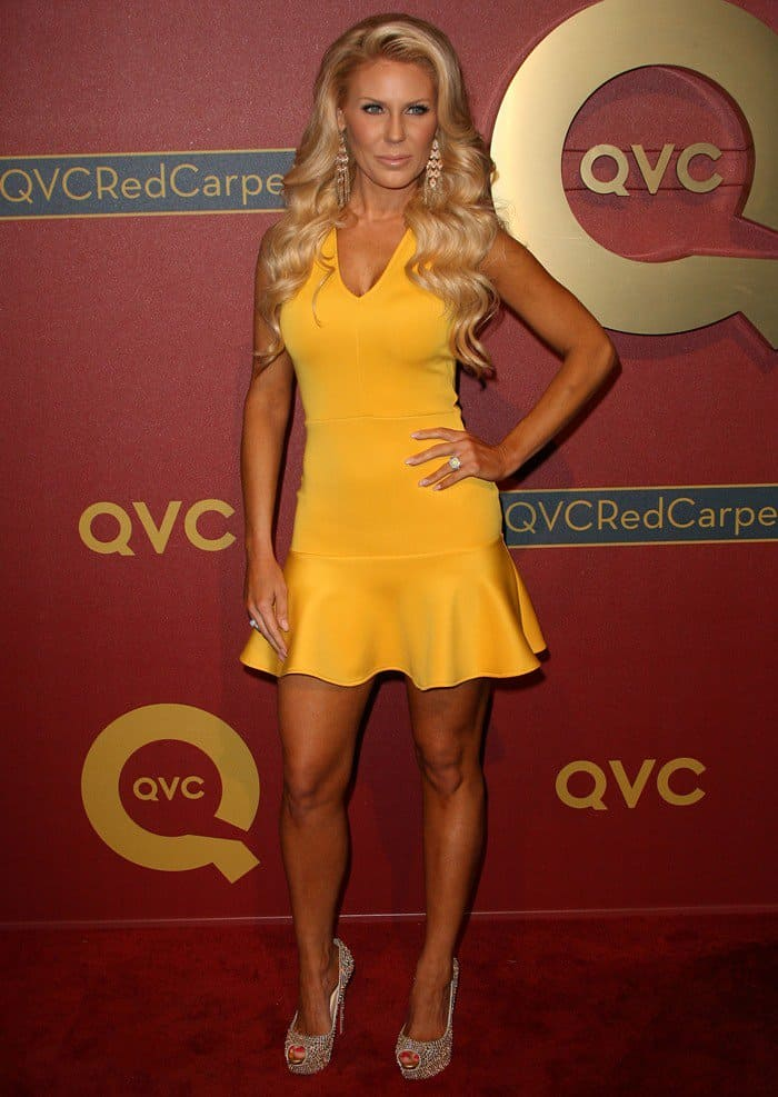 TV personality Gretchen Rossi flaunts her sexy legs at the QVC 5th Annual Red Carpet Style event
