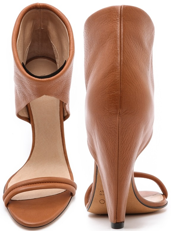 Pebbled leather IRO sandals with a bootie-inspired silhouette