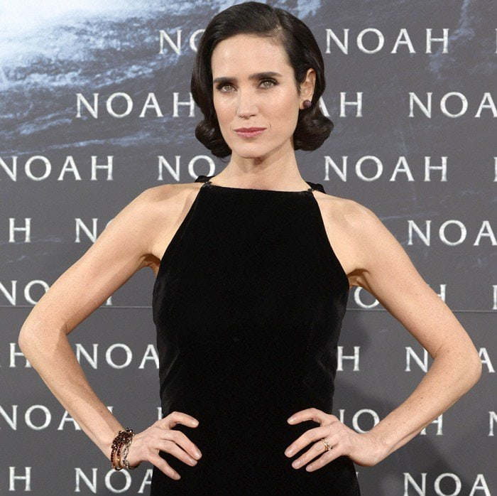 """Jennifer Connelly styles her hair in a vintage 'do at the European premiere of """"Noah"""""""