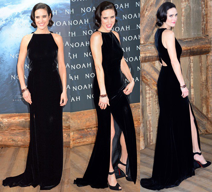 Jennifer Connelly shows off her legs in a floor-length Lanvin gown