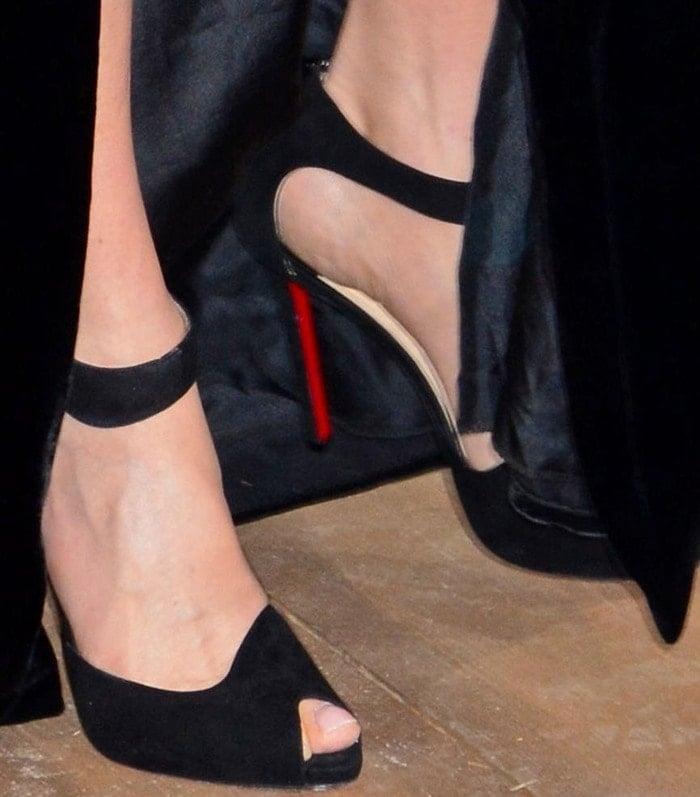 Jennifer Connelly's feet in peep-toe Christian Louboutin sandals