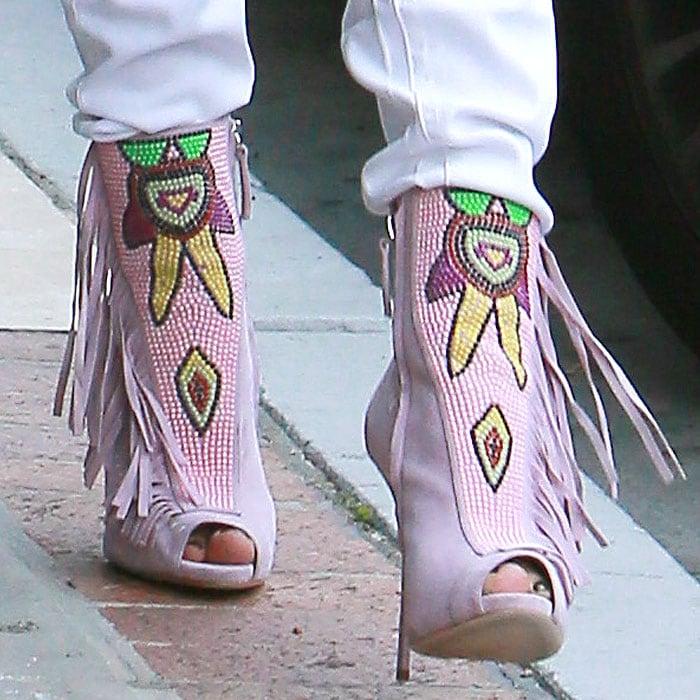 Jennifer Lopez's feet in beaded pink suede Giuseppe Zanotti booties