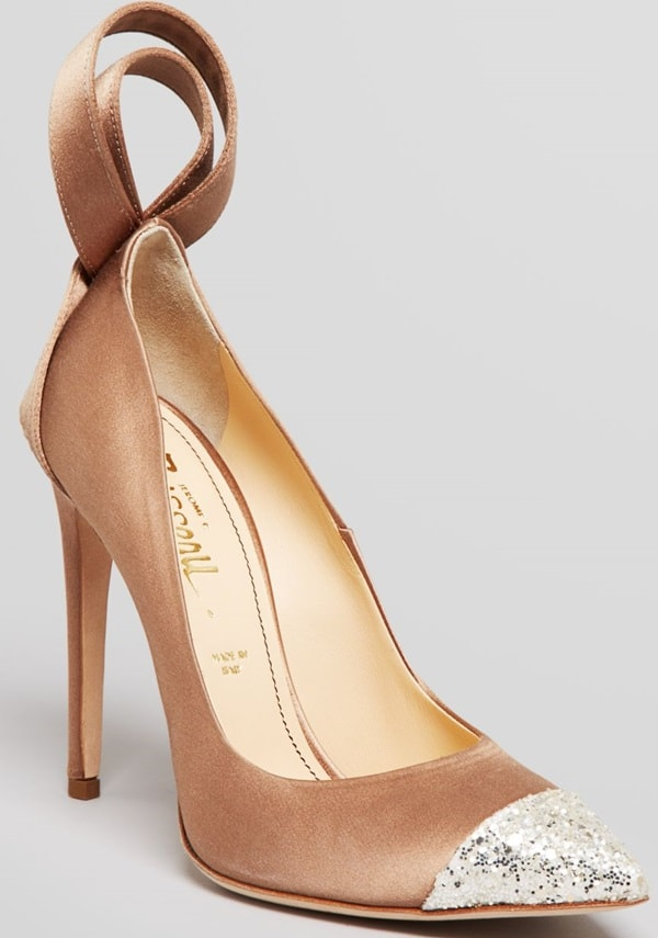Jerome C. Rousseau Beige Pointed Toe Evening Pumps Gilliam High Heel