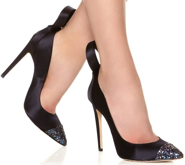 Jerome C. Rousseau Black Satin Gilliam Pumps