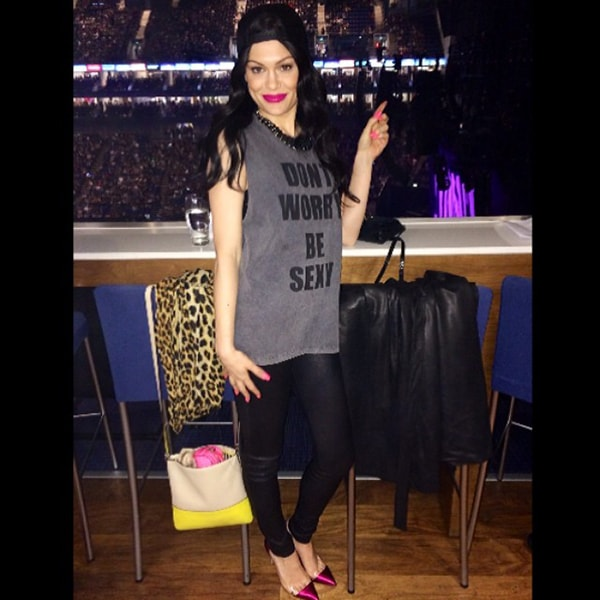 Jessie J sported a StyleStalker muscle tee paired with black pants and metallic fuchsia heels by Gianvito Rossi