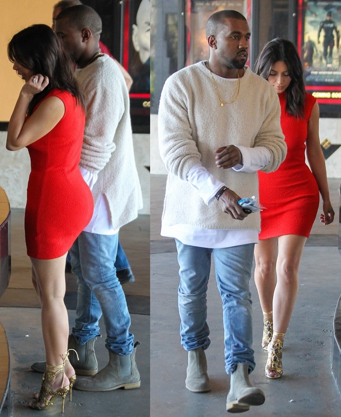 Kanye West taking fiancee Kim Kardashian on a movie date