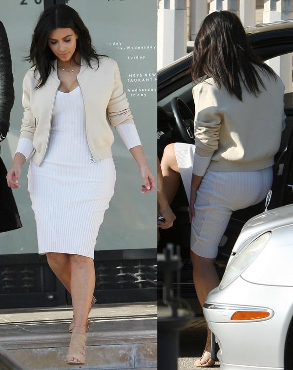 "Kim Kardashian's sexy white dress and nude ""Olympia"" jacket from Acne"