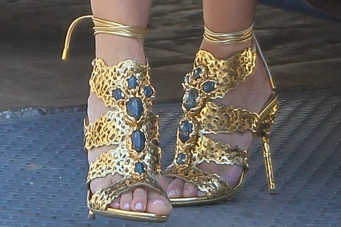 Kim Kardashian's feet in Sergio Rossi filigree sandals