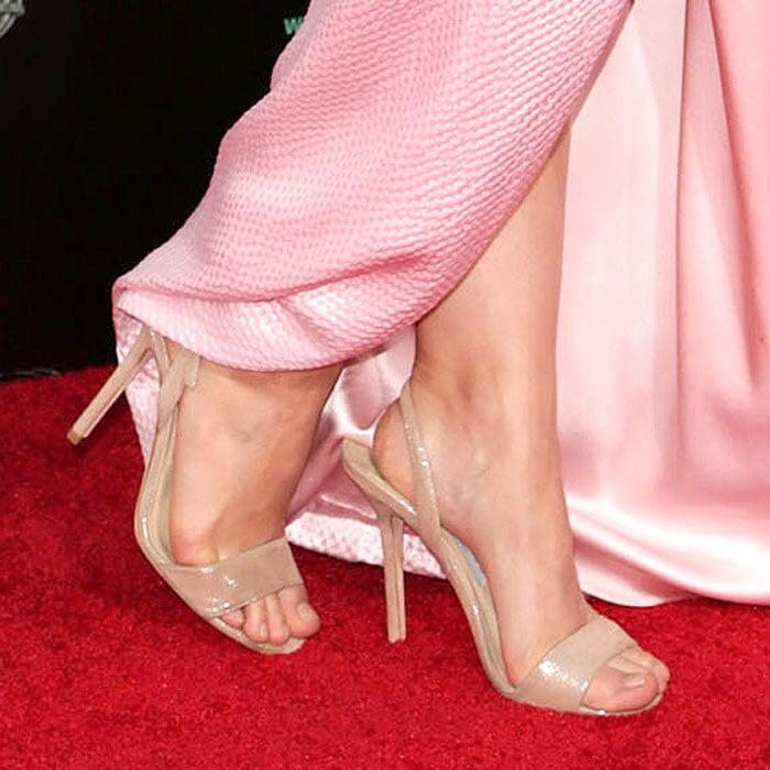 "Kristen Bell's sexy feet in nude Jimmy Choo ""Tiga"" slingback sandals"