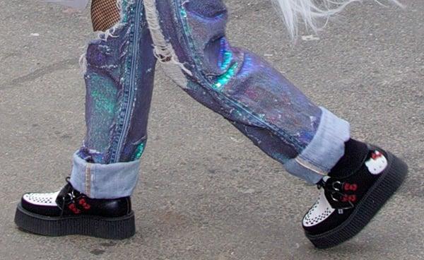 Lady Gaga wearing Hello Kitty x T.U.K. mondo-sole creepers