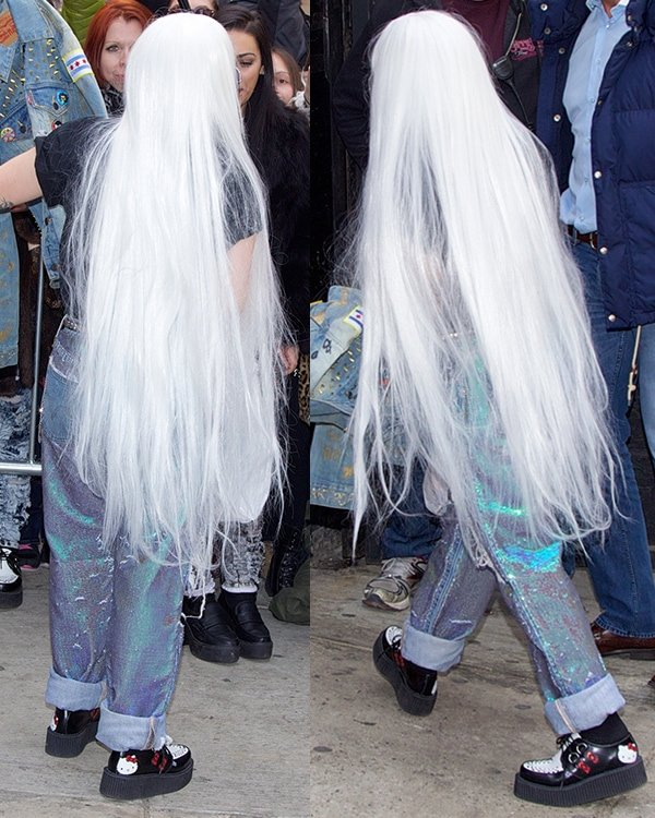 Lady Gaga wearing a long white wig while out in Midtown Manhattan, New York City, on March 27, 2014