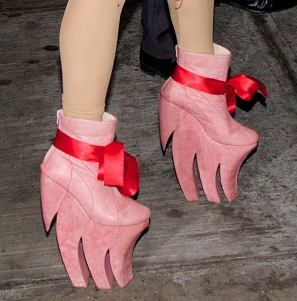 Lady Gaga wearing booties featuring spiked platform heels