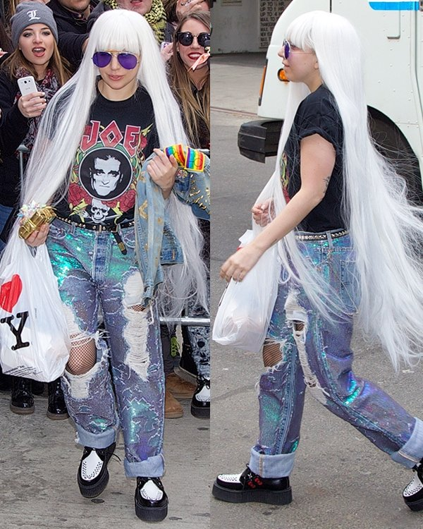 Lady Gaga a black tee with her father's face printed on the front and holographic torn jeans