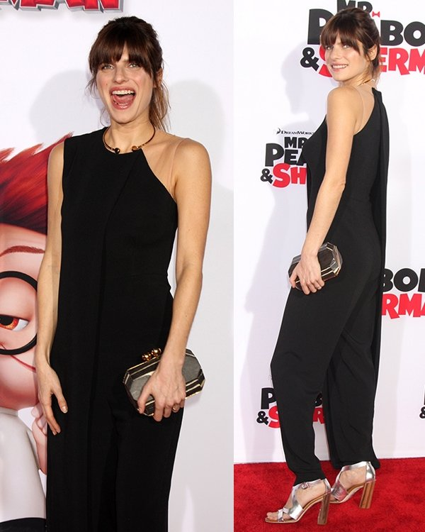 Lake Bell's clutch featuring gold trim