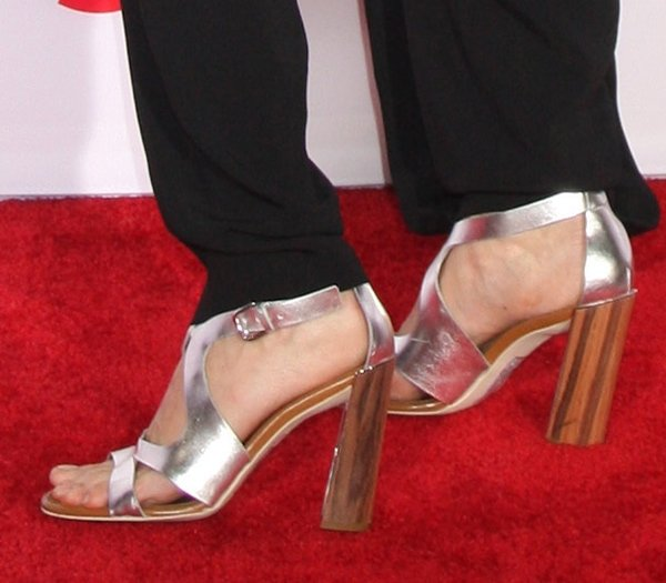 Lake Bell's feet in silver metallic Stella McCartney sandals