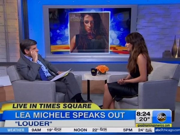 George Stephanopoulos and Lea Michele on the set of Good Morning America in New York City on March 5, 2014