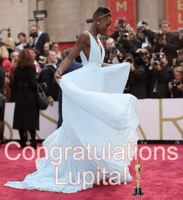 Lupita Nyong'o's retweeted pic on Twitter of her shining on the red carpet at the 2014 Oscars