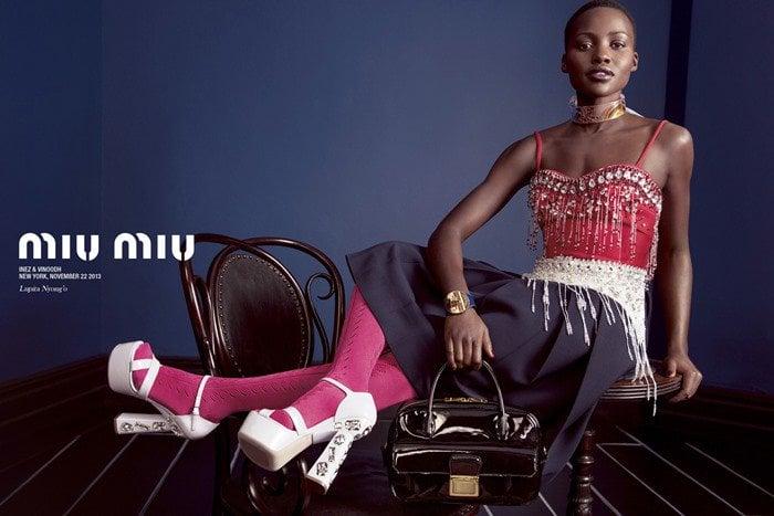 Lupita Nyongo in Miu Miu jeweled-heel platform sandals