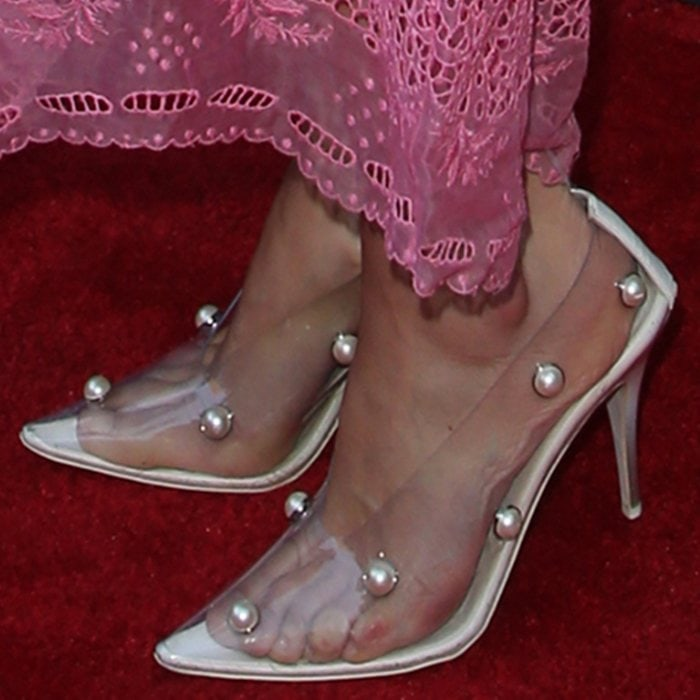 Maggie Grace's sweaty feet in clear pumps