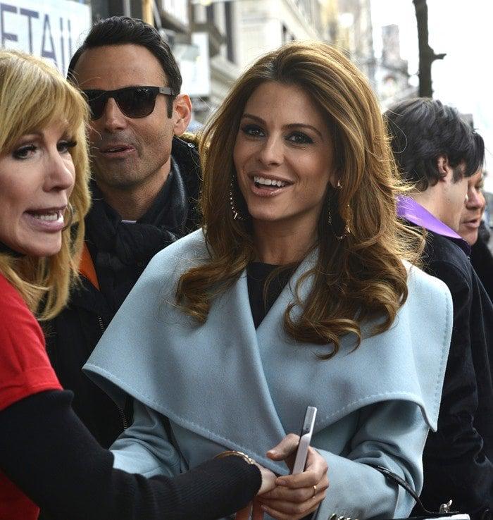 Maria Menounos wears a light blue jacket