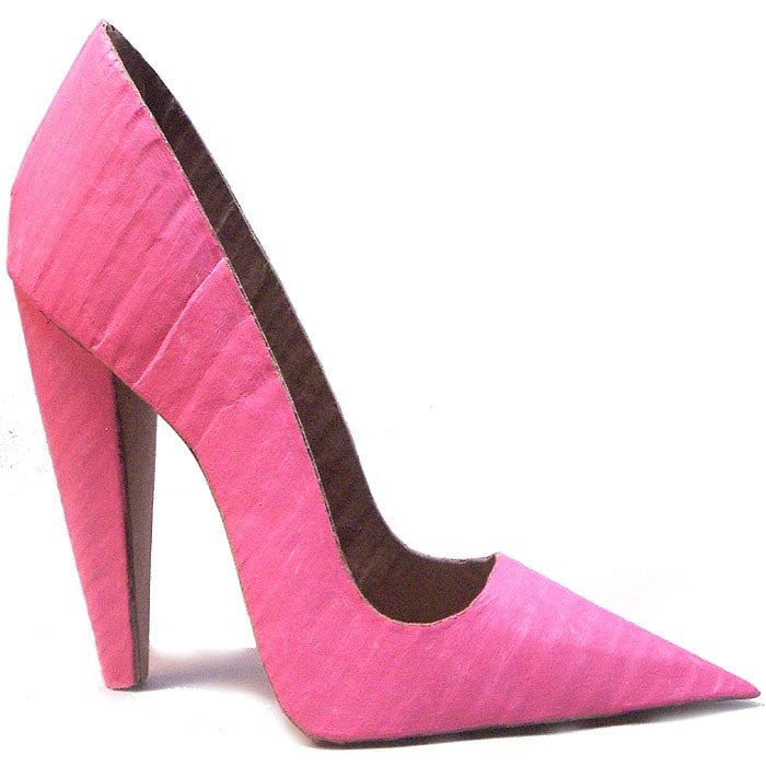 Cardboard Pink Stiletto Shoes