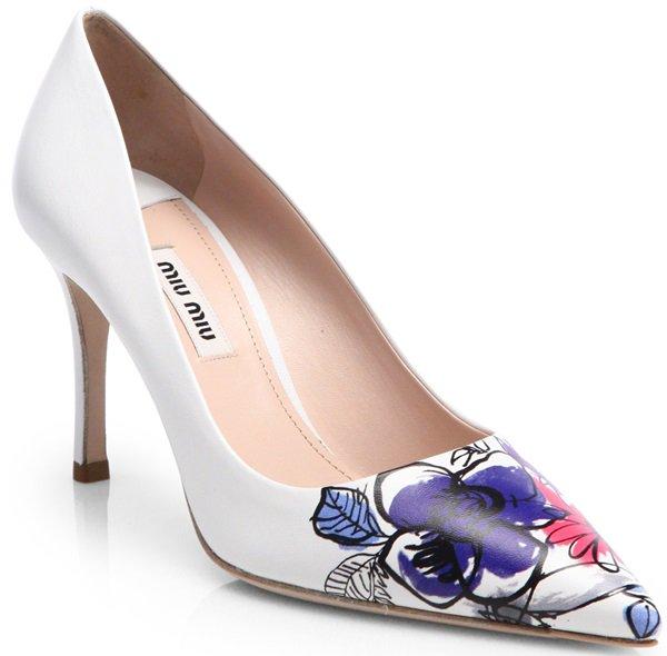 Miu Miu Blue Painted Flower toe Leather Pumps