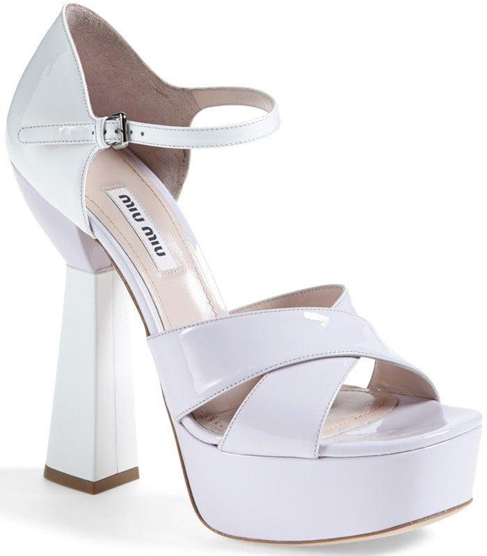 White Miu Miu Mary Jane Platform Sandal