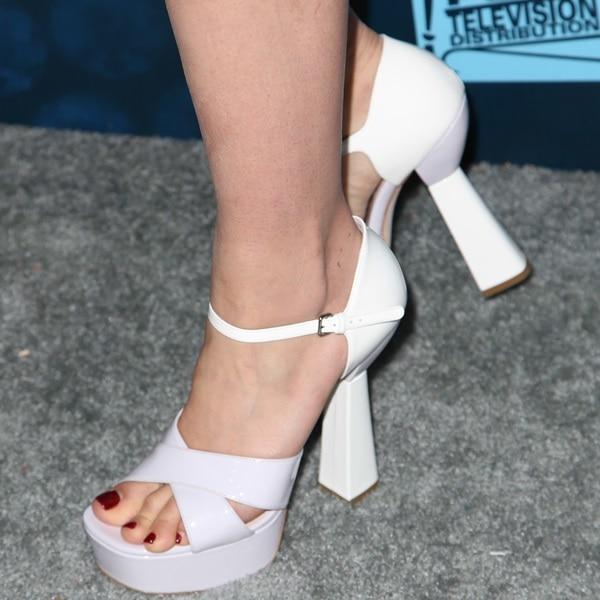 Dianna Agron wearing Miu Miu platform sandals