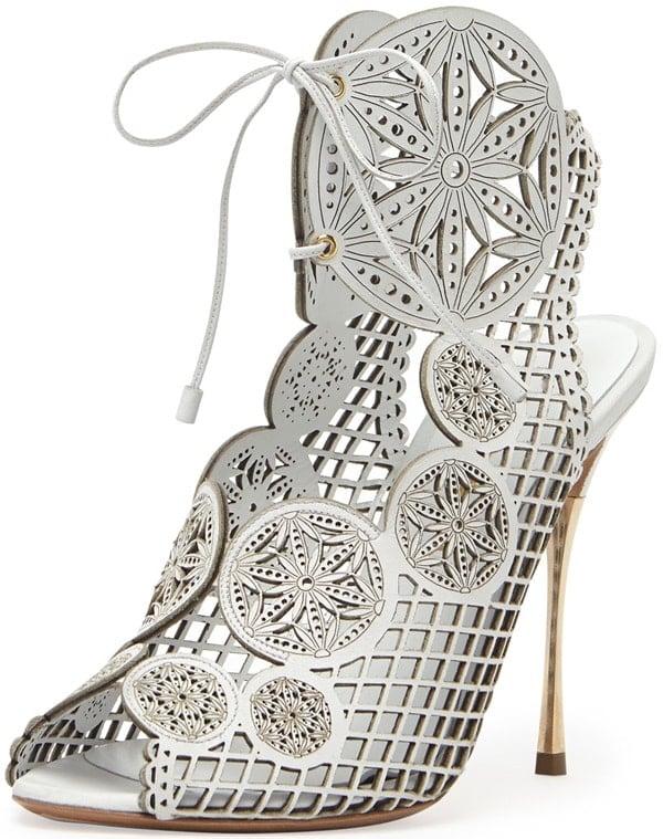 Nicholas Kirkwood Laser-Cut Leather Lace-Up Sandals