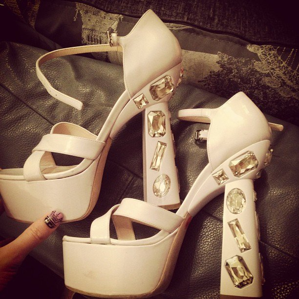 Pixie Lott Miu Miu platform sandals
