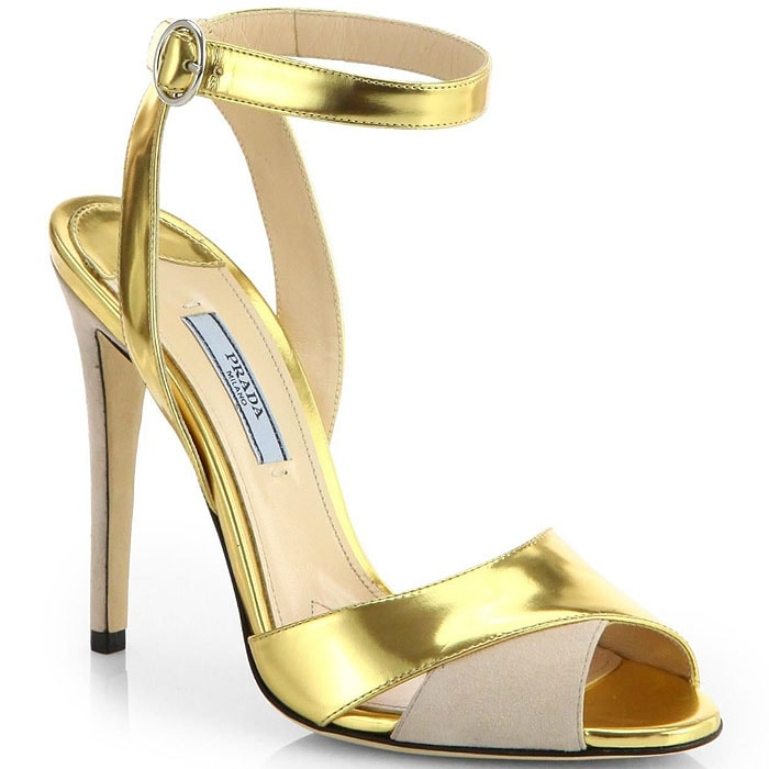 Prada Metallic Leather-and-Suede Sandals