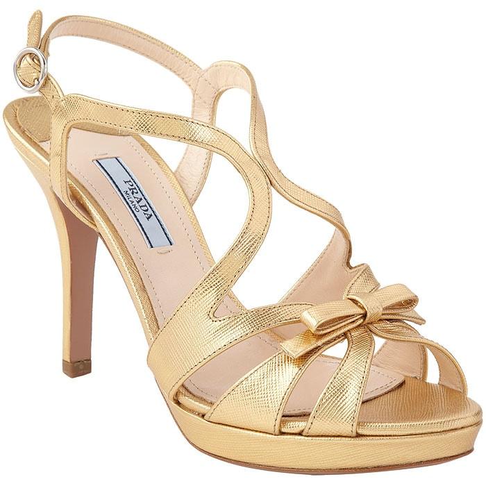 Prada Strappy Bow Platform Sandals