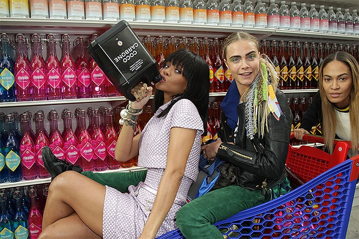 Rihanna Cara Delevingne Joan Smalls shopping cart