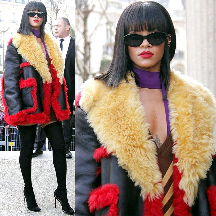 Rihanna brightened up the arrivals in a colorful, chic, and cozy-looking Prada outfit