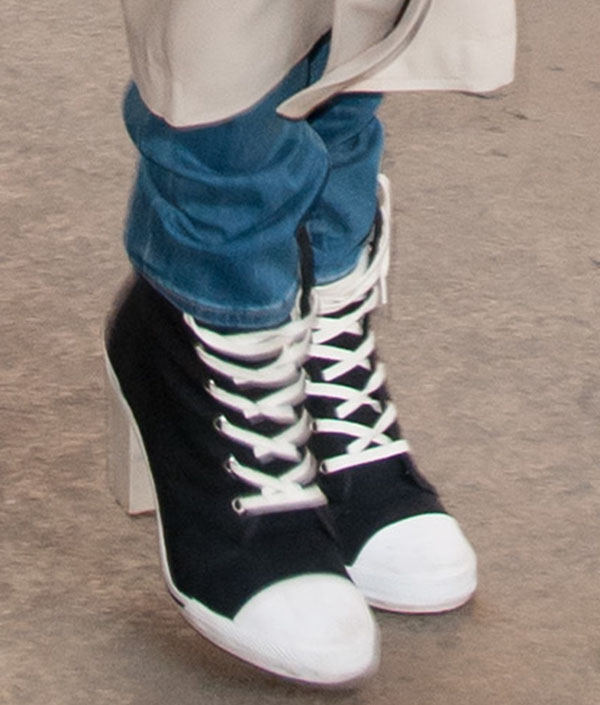 Rita Ora wearing DKNY for Opening Ceremony high-heel sneakers
