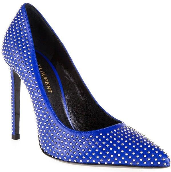 Saint Laurent Paris Studded Pointed-Toe Pumps Blue