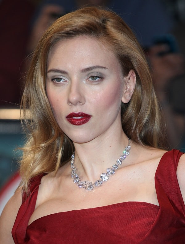 Scarlett Johansson in a beautiful red gown from Vivienne Westwood's Red Label fall 2014 collection