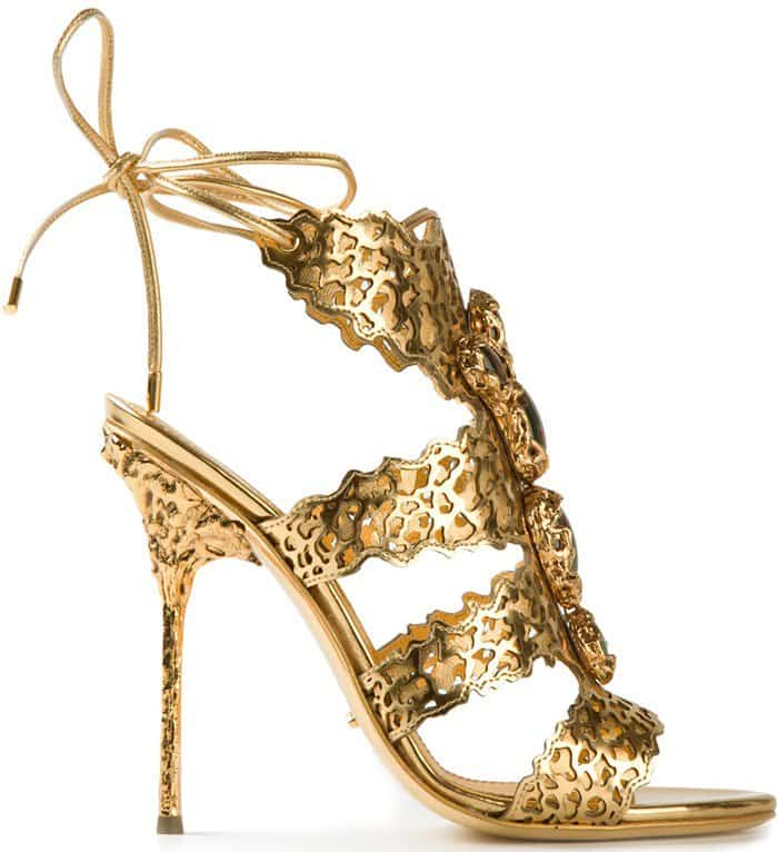 Sergio Rossi Filigree Sandals in Gold