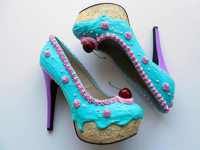 Teal Pink Cake Heels