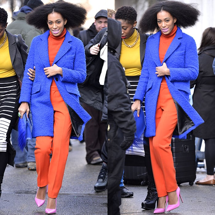 Solange Knowles departing the Milly fashion show presented duringMercedes-Benz Fashion Week Fall 2014 in New York City on February 10, 2014