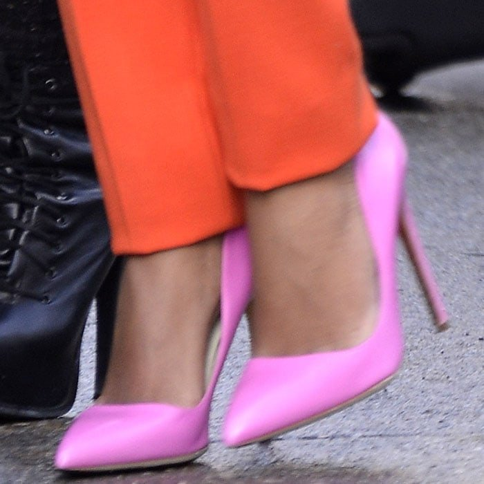Solange Knowles Rupert Sanderson pink pumps