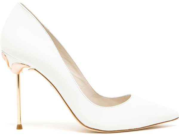 Sophia Webster White Coco Pointed Leather Pumps