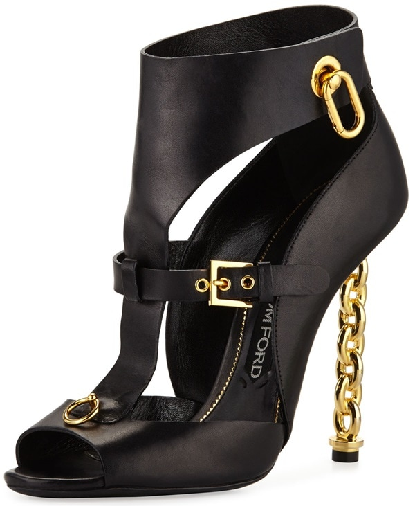 Tom Ford Buckled Chain Heel Cutout Bootie