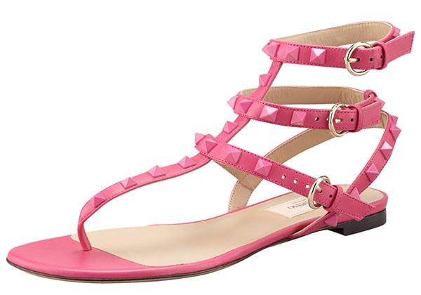 Valentino Rockstud Ankle-Wrap Sandal in Fuchsia