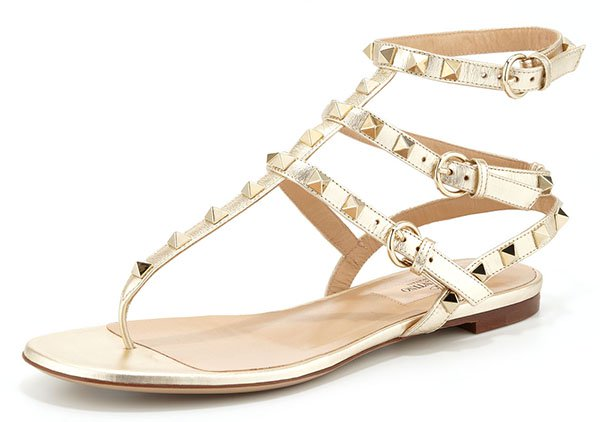 Valentino Rockstud Ankle-Wrap Sandal in Gold