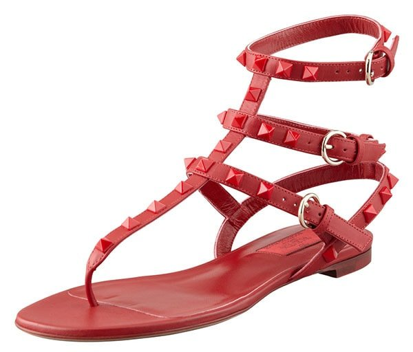 Valentino Rockstud Ankle-Wrap Sandal in Red