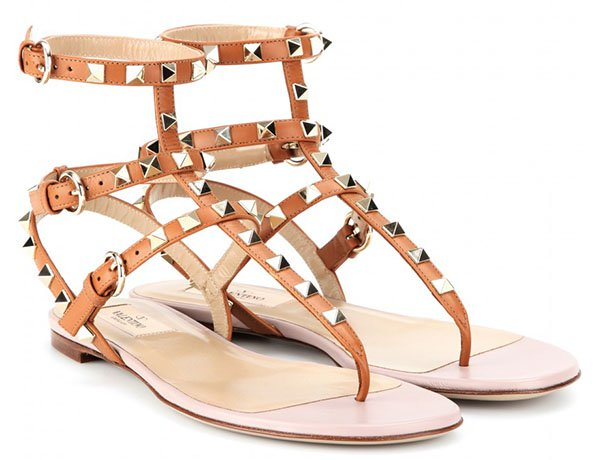Valentino Rockstud Leather Sandals Tan