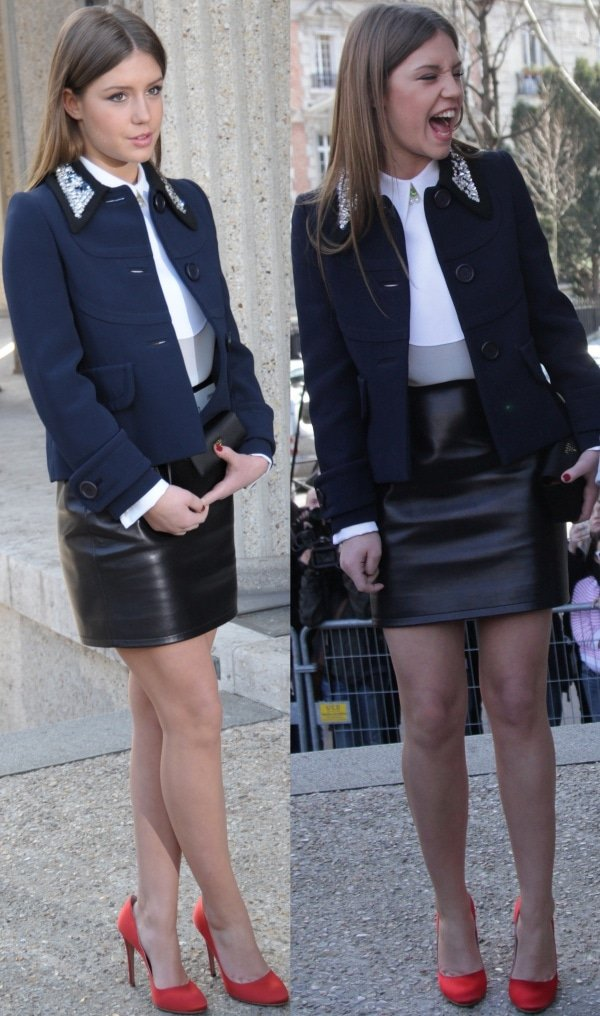 Adele Exarchopoulos in a crisp white collared shirt, which was tucked into a black leather skirt