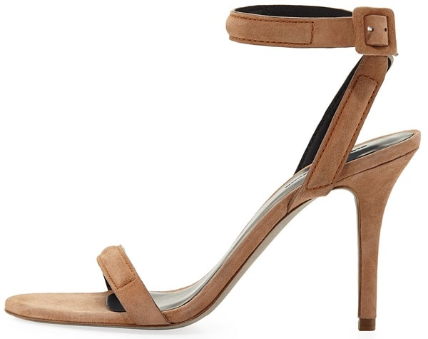 "Alexander Wang ""Antonia"" Ankle-Strap Sandals in Beige Suede"